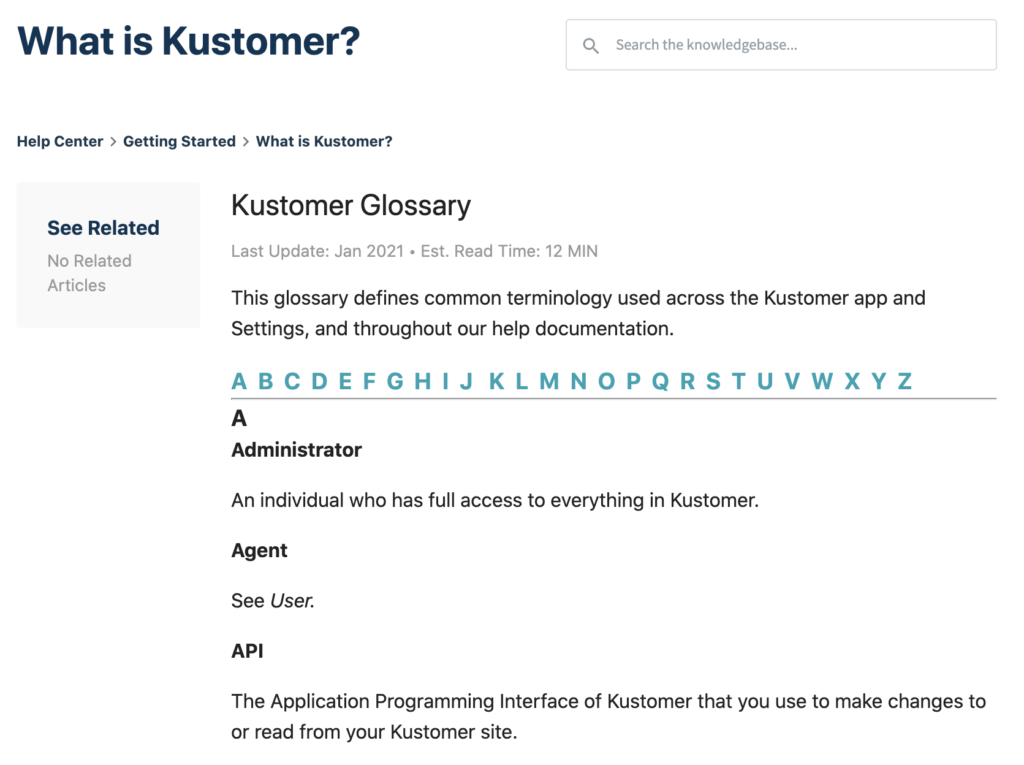 Improve Internal Communication and Facilitate Training With the Kustomer Glossary Inline