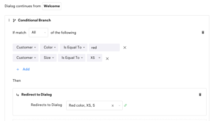 Conditional Branch and Business Rules Support for Conversational Assistant